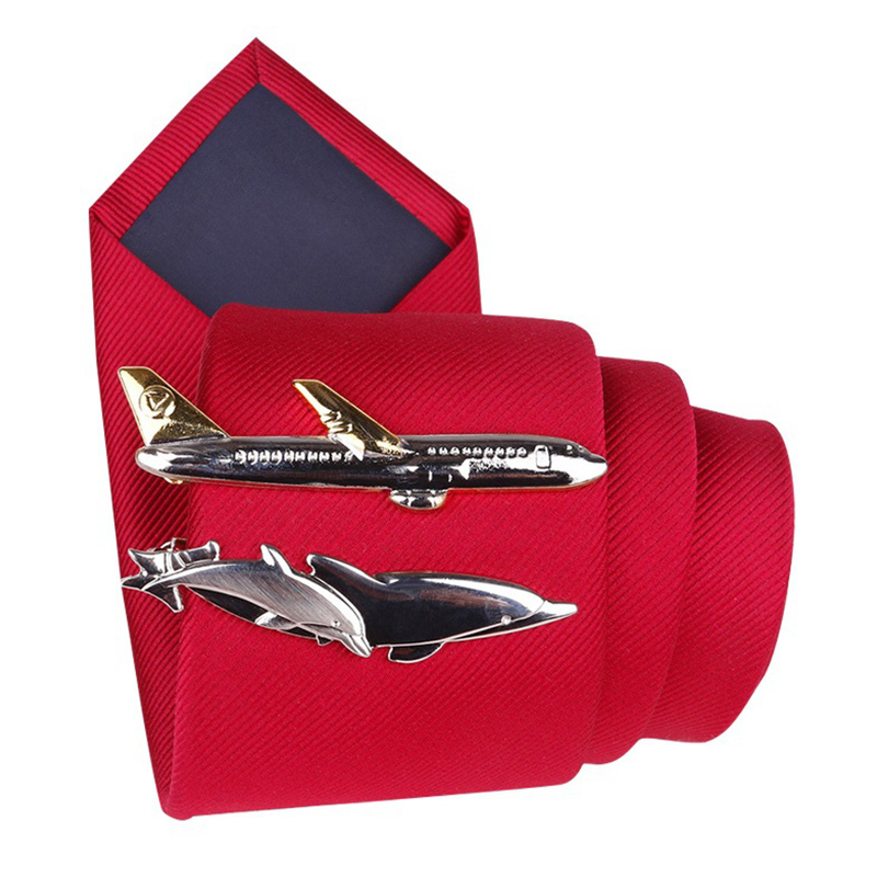 Tie-Clip Airplane Steamship Men Gifts Wedding-Party-Tie-Pin Dolphin Cute Tableware-Shape