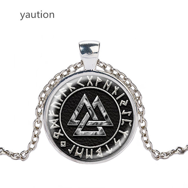 Norway Valknut pagan symbol amulet Pendant Men Jewelry Necklace Viking Scandinavian Odin of Nordic Viking Warrior 3