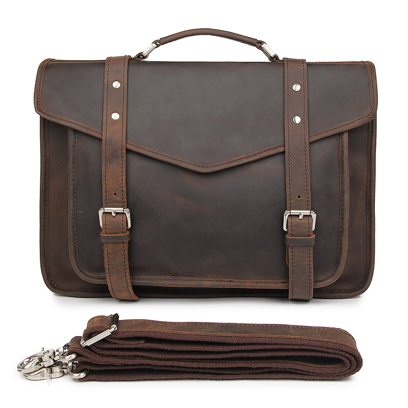 J Men/'s Genuine Leather Vintage Laptop Backpack Rucksack Messenger Bag Satchel