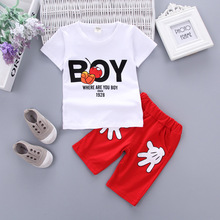 Childrens Suit Summer New 2018 Baby Cotton Short Sleeve Pants Two-piece Babys Fashion