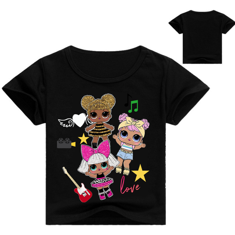 2018 New Aeelval Cute lol T Doll T-shirts Summer Top O-neck 100% Cotton Girls Clothes Kids tshirt Cartoon Teen Summer Clothing new 2017 summer 100