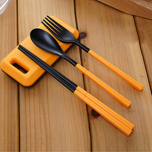 купить Hot 3 in 1 ABS Folding Outdoor Tableware Fork Chopsticks Spoon Set with Storage Box Outdoor Camping Hiking Traveling Tablewar дешево