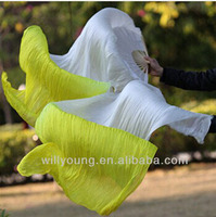 New Arrival dyed color double color 100% Silk Fan Veils for Belly Dancing Stage Show 180cm length Dancing Fans Veil