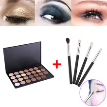 28 Color Neutral Warm Eyeshadow Palette Shadow Make Up Kit + 4pcs Eye Foundation Blending Brush HB88