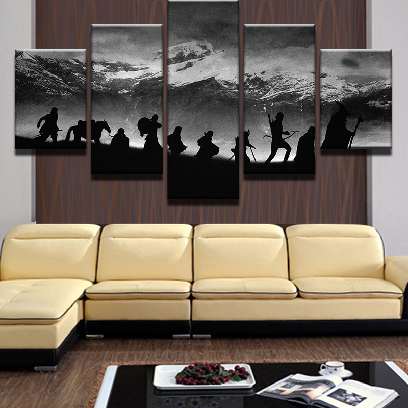 Merveilleux Modular Wall Art Oil Pictures Frame Modern Home Decor 5 Pieces. Lord Of The  Rings ...