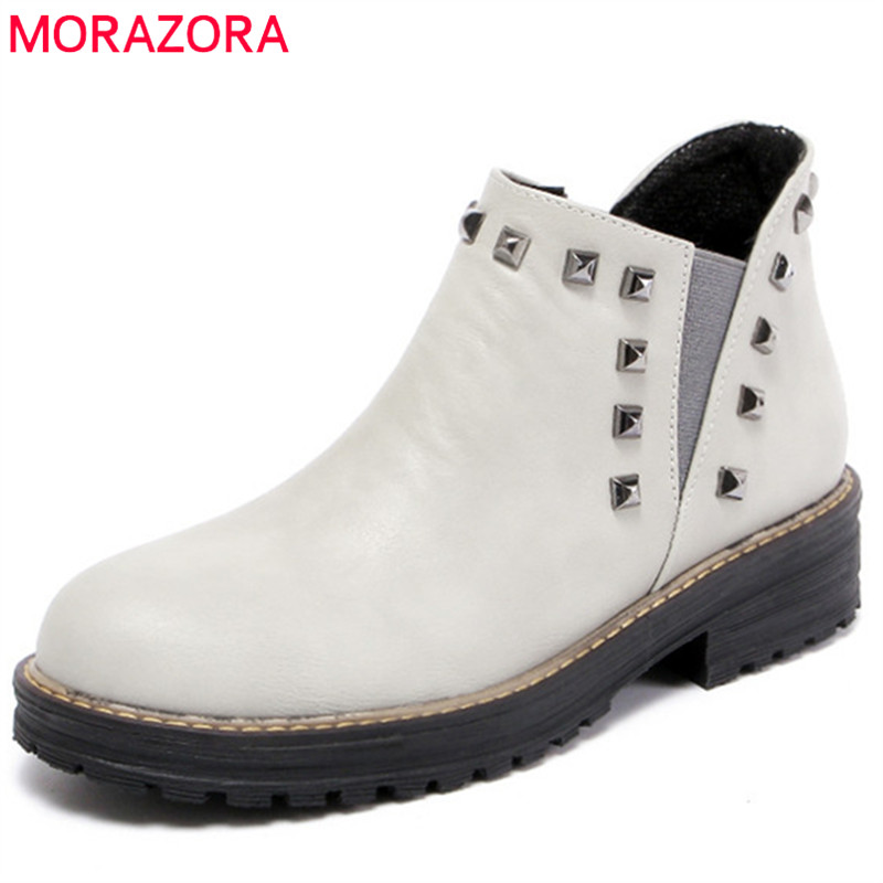 MORAZORA Med heels shoes PU soft leather ankle boots for women solid rivets motorcycle boots in spring autumn fashion boots газонокосилка электрическая huter elm 1400t