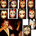 Full Face Hand Painted Japanese Fox PVC Red Kitsune Cosplay Mask Party Halloween