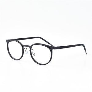 Image 4 - レトロラウンドチタンネジなしメガネフレーム男性眼鏡近視読書眼鏡女性 Oculos デ Grau
