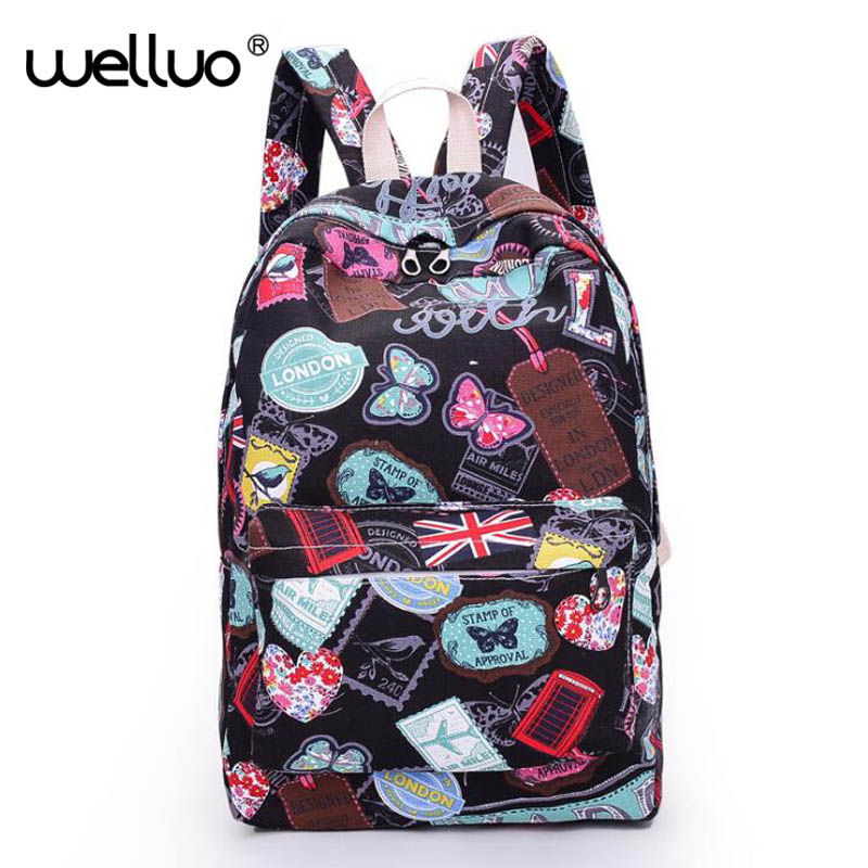 2017 Hot famous brands women canvas backpack women bags ladies travel bag school bags students backpacks canvas rucksack XA130B