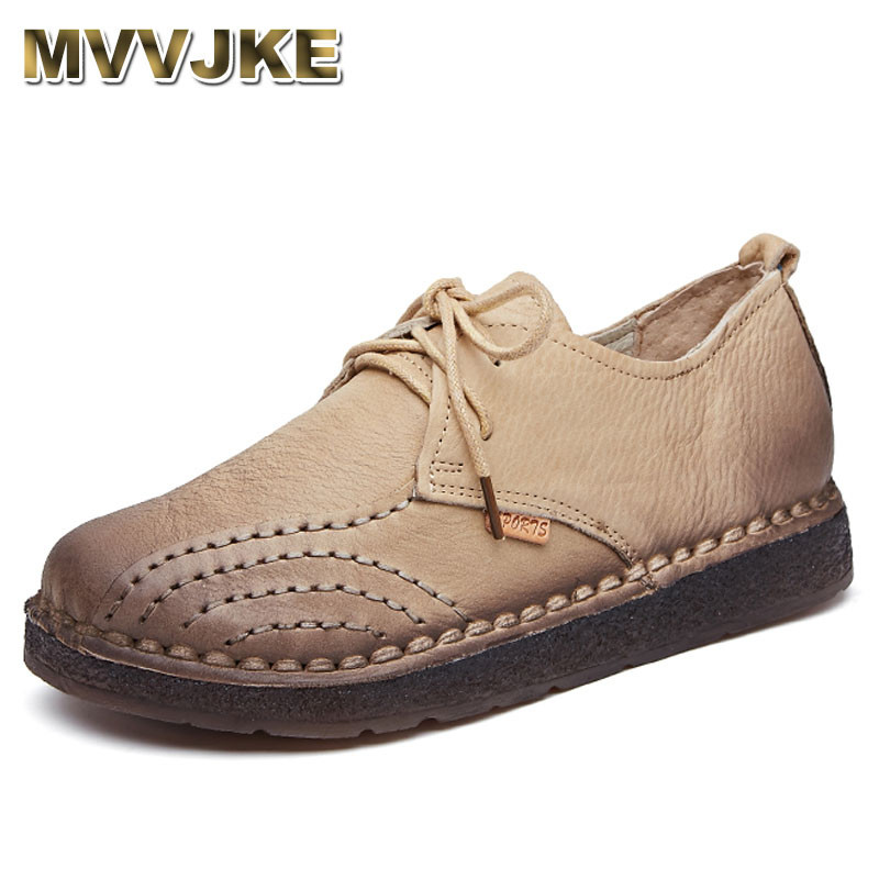 MVVJKE Genuine Leather Flat Shoe 2018 Loafers Women Shoes New Arrival Lace-u Casual Work Driving Shoes Women Flats gktinoo new handmade shoe 2018 loafers women shoes casual work driving shoes women flats genuine leather flat plus size