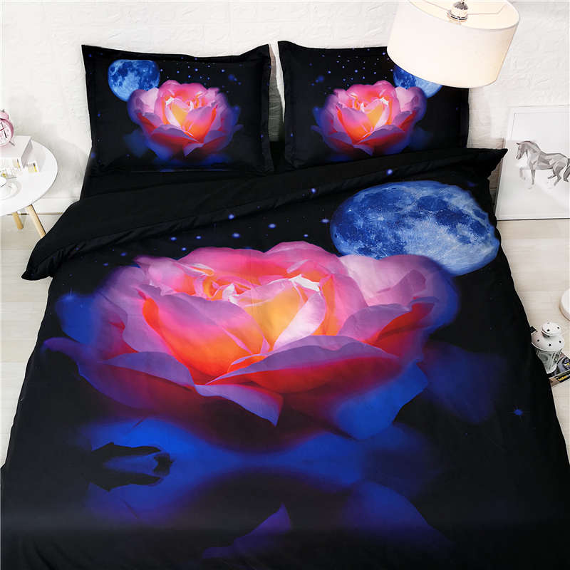 Flower Bedding Sets King Size Adult Galaxy Duvet Cover High Quality 3d Bed Linens Colorful Rose Home Textile Luxury 3pcs Non-Ironing Home & Garden