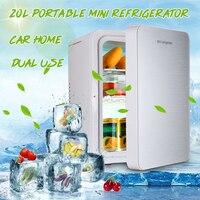 20L переносной мини холодильник 12 В в В/Вт 220 В 56 Вт автомобиль кемпинг домашний холодильник кулер и теплее одноядерный хорошее рассеивание те
