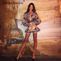 Ziwwshaoyu Vacation Print Mini dresses Stand Hollow Out Puff Sleeve elegant Plaid dress Spring and summer runway new women's