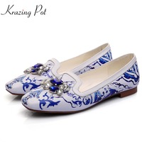 Krazing Pot 2018 square toe cow leather blue and white porcelain style shallow women flats classical style casual cozy shoe L2f3