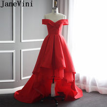 a44a334225100e JaneVini Simple High Low Satin Bridemaid Robes Red Short Front Long Back  Formal Party Prom Dress Sweep Train Bridesmaids Dresses