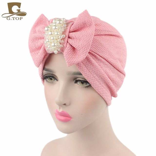 2e20030863d New Fashion Women Luxury Bow Turban With The Pearl Jewelry Cotton Hat  Stylish Chemo Cap Detachable Bowknot Indian Cap Turbante