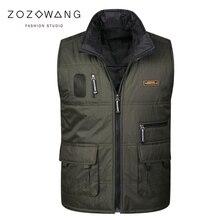 Zozowang autumn winter new cotton vest men solid casual short turn down collar zipper loose plus size waist coat