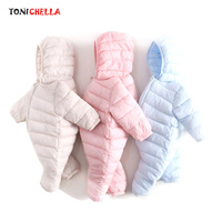 Baby Romper Thick Infant Climbing Clothes Zipper Hooded Long Sleeve Chinlon Material Newborns Infants Keep Warm