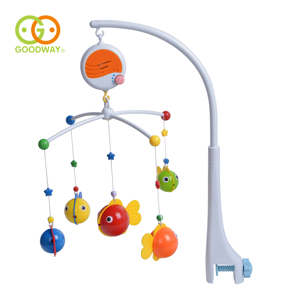 GOODWAY Baby Bed Bell Toys Rattles Baby Musical Crib Mobile Music 360 Degree Rotating Bracket Rack Hanging Baby Toys 0-12 Months