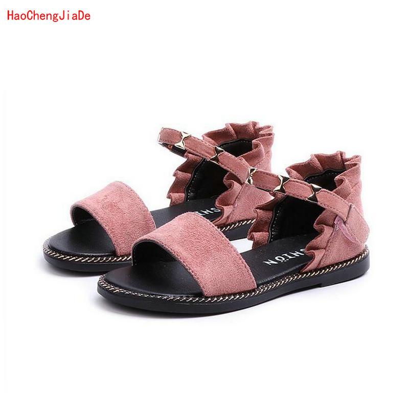 2018 New Summer Girls Princess Flat Sandals Girls Rivets Shoes Lovely Non-slip Kids Sandals for Children Shoes EU Size 26-36 ...