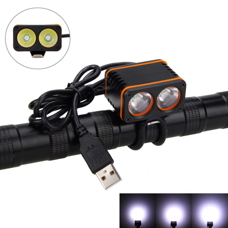 Водонепроницаемый 6000LM 2 * XM-L T6 светодиодный спереди велосипед свет 3 режима Велоспорт Handbar луч Диапазон 200 м налобный фонарь без Батарея