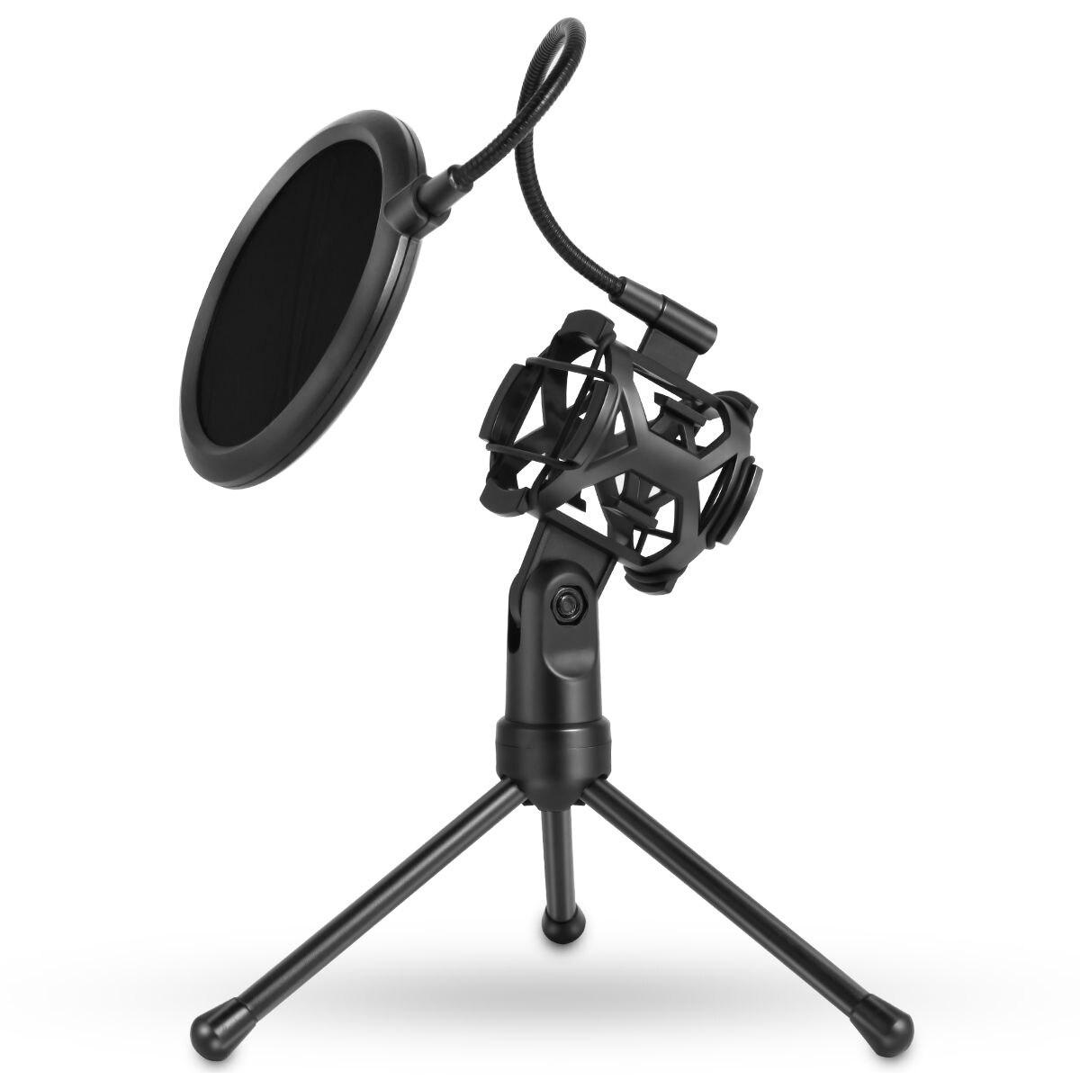Portable Microphone Stand Desktop Tripod Recording Microphone Stand With Microphone Clip Windscreen Filter
