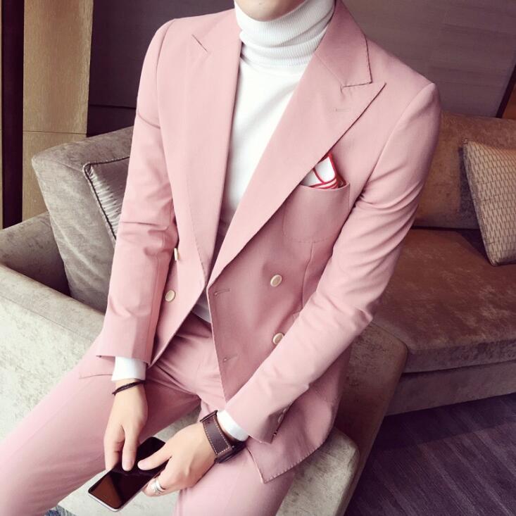 2017 Spring Men Suits For Wedding Korean Fashion 2 Pieces Mens Pink ...