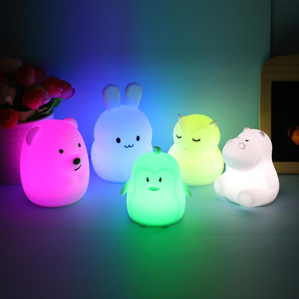 Mini Bear Hippo Owl Penguin Rabbit LED Night Light 9 Colors Cartoon Silicone Animal Bedside Lamp For Children Kids Baby Gift