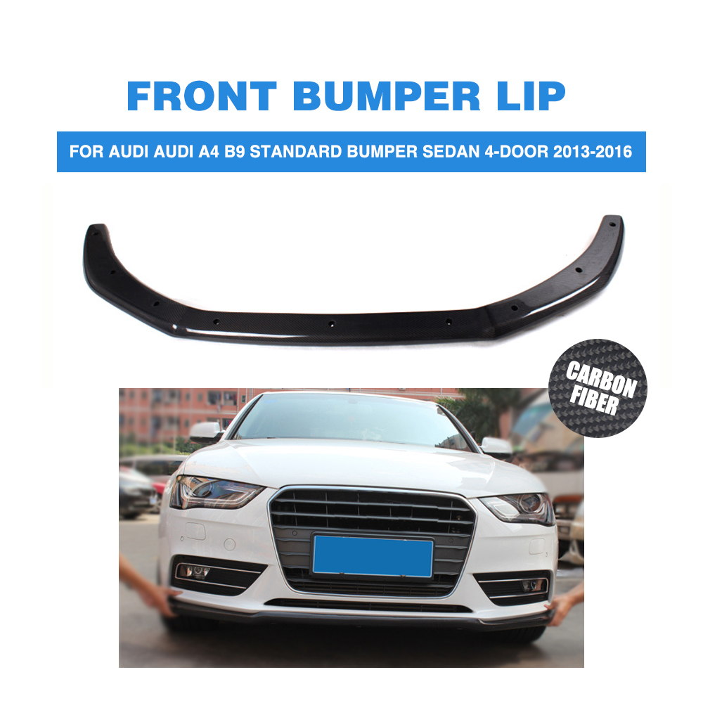 Carbon fiber front bumper lip chin spoiler for audi a4 b9 standard bumper sedan 4