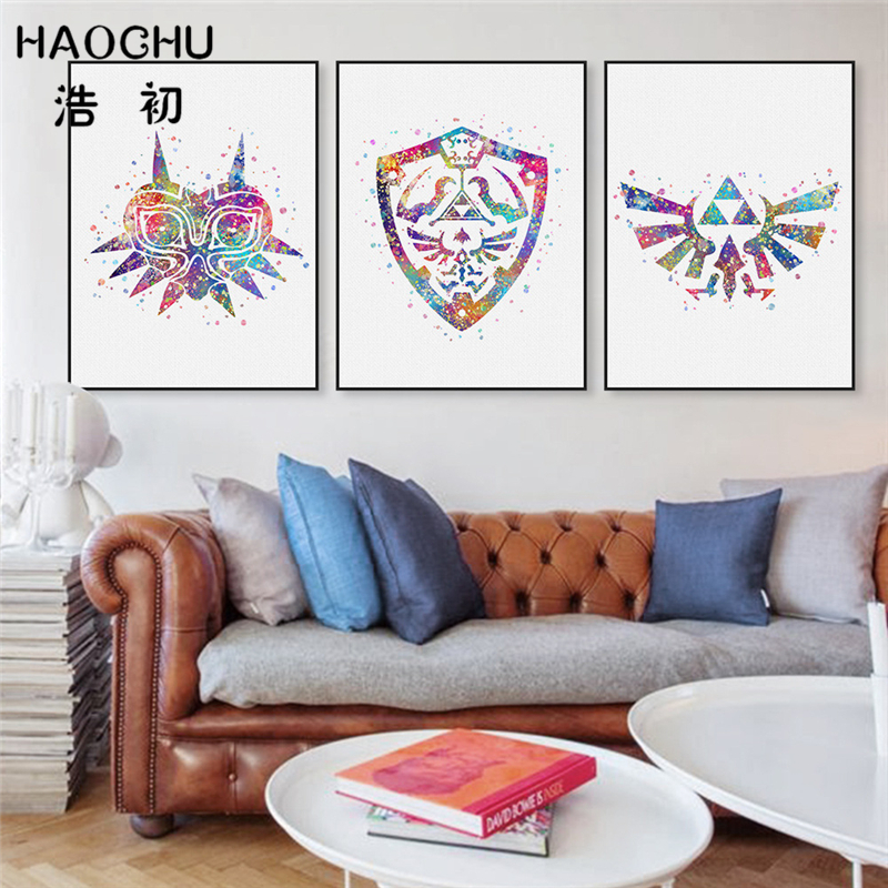 HAOCHU Watercolor The Legend Of Zelda Game Poster Modern Minimalist Canvas Painting Abstract Artwork Living Room