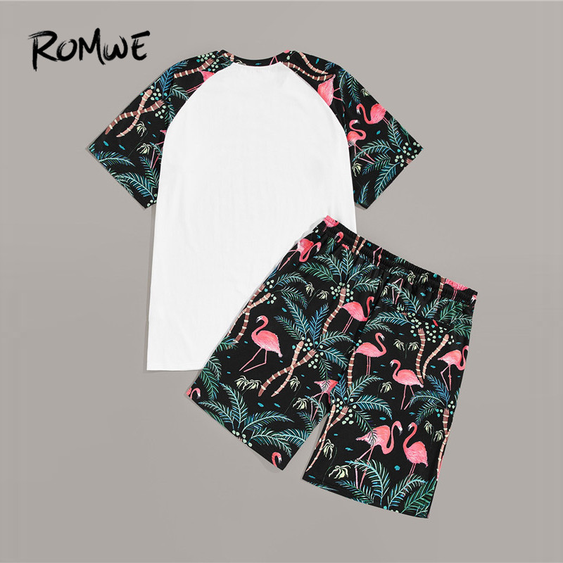 ROMWE Man Tropical Print Raglan Sleeve Tees With Shorts Mens Set Summer T Shirts And Drawstring Shorts Male Two Pieces Co-ords