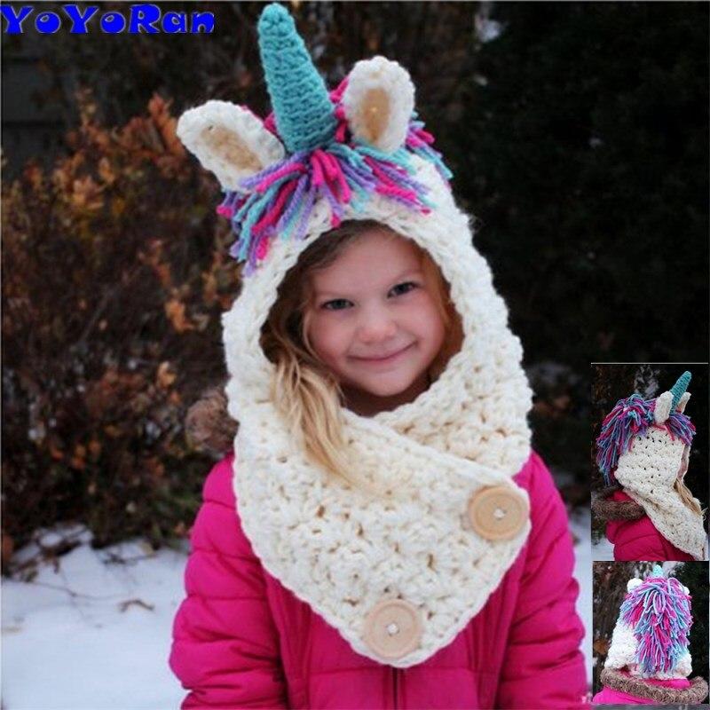 YOYORan 2-8Y Kids Winter Hats Girls Boys Children Unicorn Crochet Warm Caps Scarf Set Baby Bonnet Cartton Cute woolen knit Hat