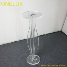 Transparent  Modern Acrylic Lucite Sprial Round Pedestal Table,Plexiglass Round Flower Vase Stand