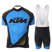 Quick Dry Cycling Jersey GEL Pad Bib Short Blue KTM Pro Team Short Sleeve Cycling Jersey