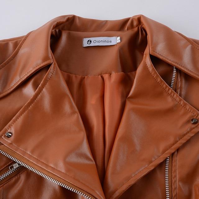 2018 Autumn Women faux Leather Jacket Gothic Black moto jacket Zippers Long sleeve Goth Female PU Faux Leather Jackets 6