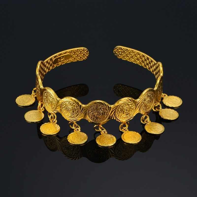 בציר מטבע קאף צמידים וצמידים לנשים האיסלאם מוסלמי ערבי מטבע כסף סימן זהב צבע אמצע מזרח תכשיטים
