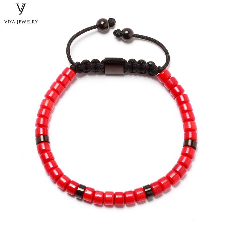 Red Coral Wheel Beads DIY Macrame Bracelet Customized Fashion Handmade Natural Wheel Beads Braided Adjustable Men Beads Bracelet все цены