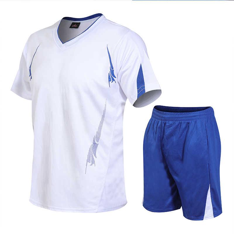 Повседневные мужские комплекты, летний спортивный костюм, мужской костюм для фитнеса, шорты с короткими рукавами, костюм, Мужская однотонная спортивная одежда с v-образным вырезом, M-4XL из двух предметов, новинка 2019