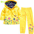 KEAIYOUHOU Girls Clothes Set 2017 Autumn Spring Kids Clothes Raincoat Hooded Jacket+Pant Outfit Children Clothing Boy Sport Suit