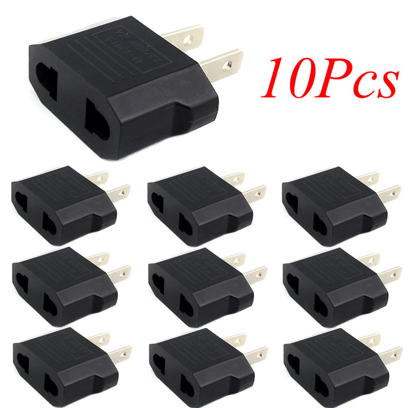 2018 High Quality BGEKTOTH 10pcs European Euro EU to US USA Plug Travel Charger Outlet Converter Adapter