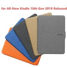Чехол Kindle с текстурой ткани из искусственной кожи, умный чехол, жесткая задняя крышка для нового Kindle 10th
