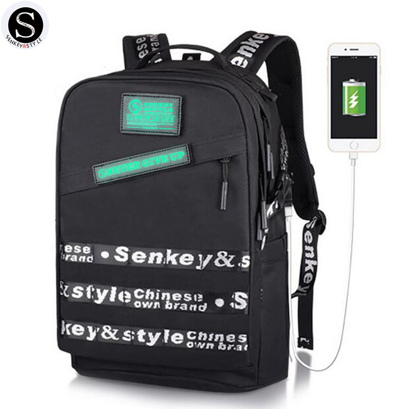 Senkey Style Backpack Men Letter Luminous Package Glowing Night Designer Laptop Backpack School Bags For Teenagers waterproof