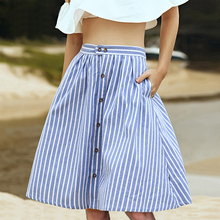Striped A-Line Blue Single-Breasted Skirt Women 2018 Spring Summer Casual High Waist Knee-Length Skirts Cute Ladies Skirt Femme