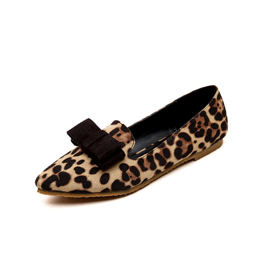 2018 Spring Autumn New Leopard Print Suede Bow Round Head Soft Bottom Casual Sexy Comfortable Breathable Fashion Women Flats