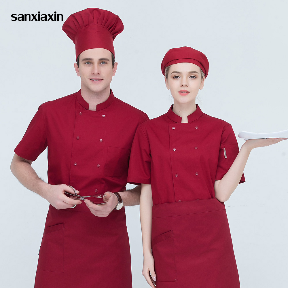 Sanxiaxin Sleeved Men And Women Chef Coat Restaurant Uniforms Shirts Hotel Kitchen Chef Jacket Food Service Chef Work Clothes