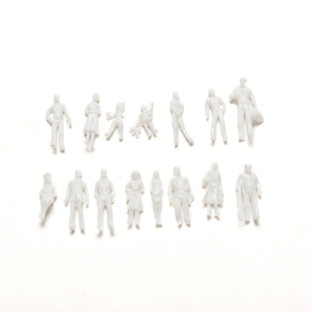 100 Pcs/set DIY Toys White Model People Figure 1:100 Scale Mini Unpainted For Train Passengers