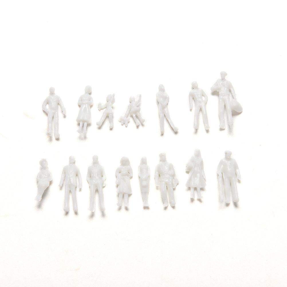 100 Pcs/set DIY Toys White Model People Figure 1:100 Scale Mini Unpainted For Train Passengers