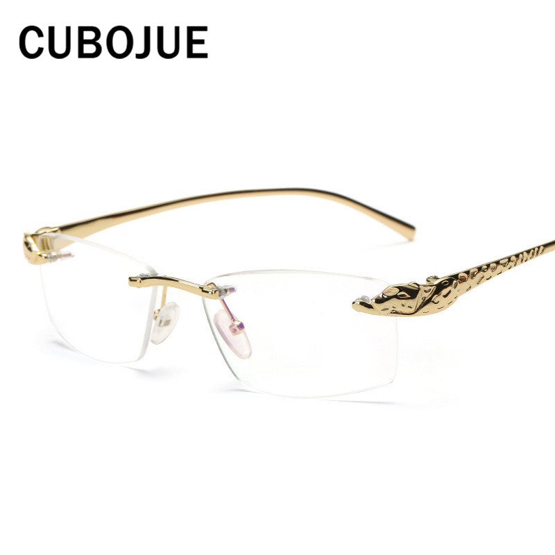 Cubojue Rimless Gold Mens Glasses Frame Leopard Wide Face Man Eyeglasses Prescription Spectacles Luxury Design Quality Case Free