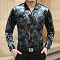 Business casual high-end ouro veludo de algodão mercerizado longo-sleeved camisa 2016 Outono & Inverno novas tendências da moda camisa dos homens M-3XL