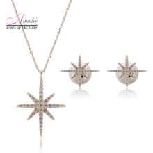 Amader famous 2016 Korean Fashion Women Jewelry Starfish Necklace Pendant Stud Earrings Gold Plated for Wedding Party